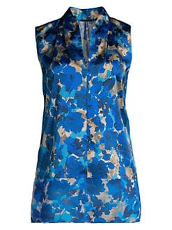 88fe01df75280 Rose Floral Silk Sleeveless Blouse CALYPSO BLUE. QUICK VIEW. Product image.  QUICK VIEW. Elie Tahari