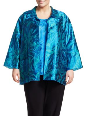 Caroline Rose T-shirts Blue Hawaii 2-Piece Jacquard Shirt & Long Tank Set