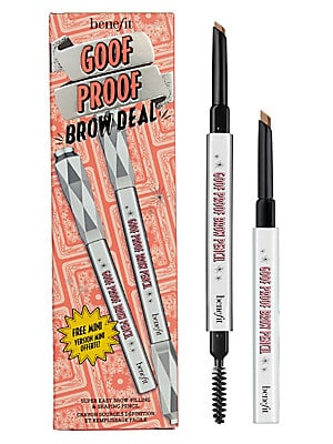 Image of $36 VALUE WHAT IT IS This shaping and filling brow duo includes a full-size and free mini of Benefit's bestselling Goof Proof Brow Pencil for full and natural-looking brows. Keep your full-size at home and stash your mini in your purse for easy brows on-t
