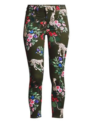 L Agence Margot High Rise Floral Leopard Skinny Jeans