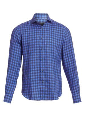 Saks Fifth Avenue Collection Linen Cotton Gingham Sport Shirt
