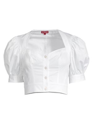 Staud Tops Rene Puff Sleeve Cotton Blouse