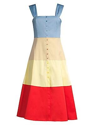 Ariel Colorblock Cotton Midi Dress by Staud