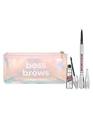 Image of $58 VALUE WHAT IT IS It's a limited edition Meet Boss Brows, Baby eye brow gel and eye brow pencil set in a custom Boss Brows make-up bag. Full-size 0.001 oz Precisely My Brow Pencil. Full-size 0.002 oz. Gimme Brow+ Volumizing Eyebrow Gel. Ban. do make-up