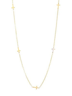 "Image of Delicate gold chain necklace set with stylish cross charms. 14K yellow gold Spring ring closure Made in USA SIZE Length about 16"" with 2"" extender. Fashion Jewelry - Modern Jewelry Designers > Saks Fifth Avenue. Zoe Chicco. Color: Gold."