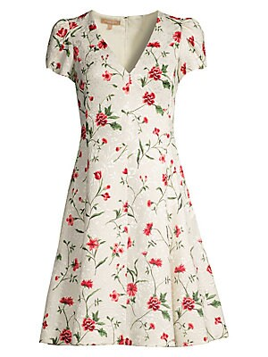 V Neck Floral Jacquard Dress by Michael Kors Collection