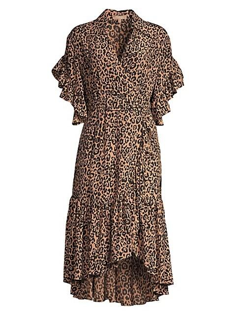 Belted Cheetah Silk Wrap Dress