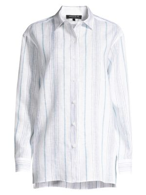 addb2b27 Lafayette 148 New York Everson Linen Button-Down Shirt