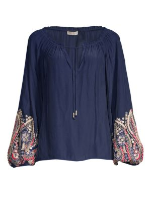 Ramy Brook Tops Shanese Embroidered-Sleeve Blouse