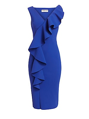 """Image of A fluttering ruffle adorns the shoulder and bodice of this sleek cocktail dress. V-neck Sleeveless Pull-on style Ruffle trim Polyamide/elastane Hand wash Made in Italy SIZE & FIT Sheath silhouette About 43.25"""" from shoulder to hem Model shown is 5'10"""" (17"""