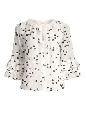 Rebecca Taylor Tops Allessandra Floral Ruffle Top