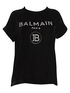bc5fa499 QUICK VIEW. Balmain. Glitter Logo Velvet Tee
