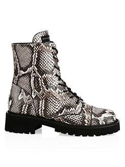 5d4e1cc8a9f1 Giuseppe Zanotti. Snake-Print Leather Combat Boots