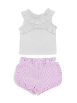 f8a1412a Habitual Girl. Baby Girl's & Little Girl's Hazel 2-Piece Pleated Tee &  Shorts Set