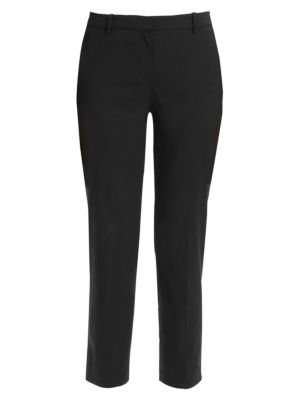 Theory Crunch Cropped Stretch Linen Trousers