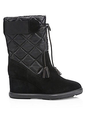 "Image of Leather and suede quilted booties flaunt a chic wedge. Leather/textile upper Almond toe Slip-on style Back elasticized band Quilted finish Weatherproof technology Textile lining Rubber sole Made in Italy SIZE Self-covered wedge heel, 3"" (80mm) Shaft heigh"