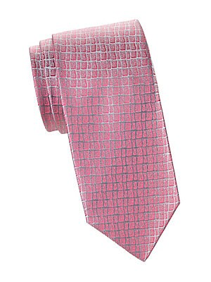 "Image of Abstract gridded design adds visual texture to essential silk tie. Silk Dry clean Made in France SIZE Width, about 3.5"". Men Luxury Coll - Charvet > Saks Fifth Avenue. Charvet. Color: Pink."