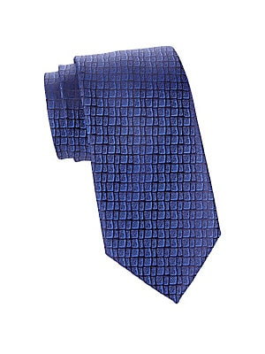 "Image of Abstract gridded design adds visual texture to essential silk tie. Silk Dry clean Made in France SIZE Width, about 3.5"". Men Luxury Coll - Charvet > Saks Fifth Avenue. Charvet. Color: Navy."