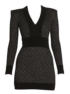 Long Sleeve V Neck Diamond Grid Dress by Balmain