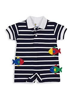 4ab5a97f413 Florence Eiseman. Baby Boy s Fish-Applique Striped Romper