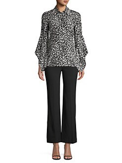d4754910e587b9 Michael Kors Collection. Asymmetric Sleeve Silk Blouse