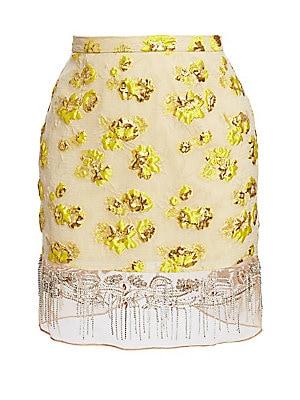 Devium Embellished Floral Jacquard Skirt by Rachel Comey