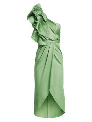 Johanna Ortiz Persian Opulence Asymmetric Ruffle Midi Dress