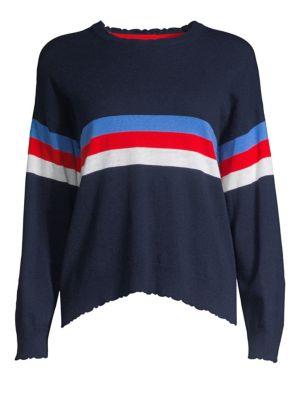 Sundry Sweaters Intarsia Stripe Wool-Blend Crewneck Sweater