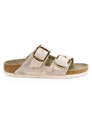 Birkenstock Arizona Big Buckle Metallic Leather Sandals In Washed Metallic Rose Leather