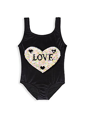 Image of Bold embellished sequin heart adorns this shimmering tank swimsuit. Roundneck Sleeveless Pull-on style Sequin detail Polyamide/elastane Hand wash Imported. Children's Wear - Contemporary Children > Saks Fifth Avenue. PilyQ. Color: Black Multi. Size: 4.