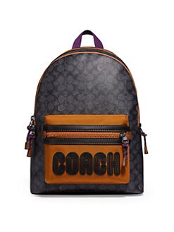 baf864c5f6 COACH - Academy Logo Print Coated Canvas Backpack