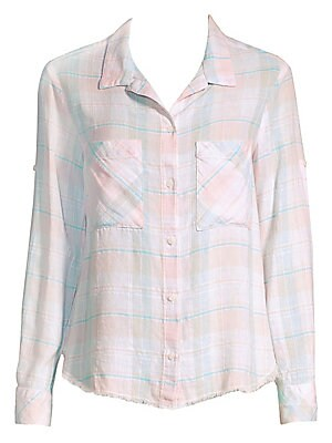 """Image of Checkered shirt finished with a raw hem for an effortlessly fresh look. Spread collar Long sleeves Roll-tab cuffs Button front Chest patch pockets Shirttail hem Linen/viscose/cotton Machine wash Made in USA SIZE & FIT About 24"""" from shoulder to hem Model"""