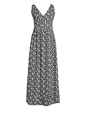 """Image of A wardrobe essential, this maxi dress with flattering V-neck and pleated skirt flaunts allover print. V-neck Sleeveless Concealed back zip Seamed waist Pleated skirt Cotton Hand wash Made in Italy of imported fabric SIZE & FIT Regular fit About 59.5"""" from"""