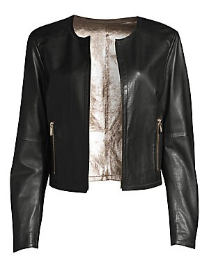 "Image of Chic leather jacket boasts metallic lining. Roundneck Long sleeves Zip front Waist zip pockets Leather Dry clean by leather specialist Imported SIZE & FIT Regular fit About 21"" from shoulder to hem Model shown is 5'10"" (177cm) wearing US size 4. Modern Co"
