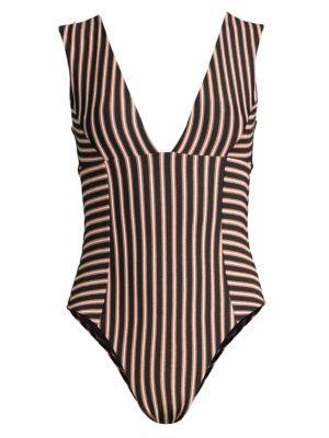 L*space Suits Horizon Stripe Sunscape One-Piece Swimsuit