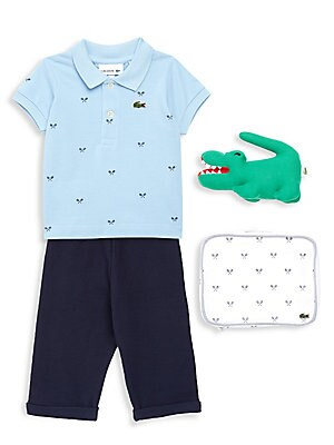Image of A perfect gift for a lucky child: a polo and cardigan set in soft cotton jersey, presented in a mini suitcase with an iconic plush crocodile. Cotton. Machine wash. Imported. POLO Polo collar Short sleeves Rib-knit cuffs Two-button placket PANTS Elasticize