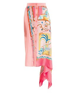 5c292d787ed Emilio Pucci. Silk Twill La Villa Print Asymmetrical Skirt
