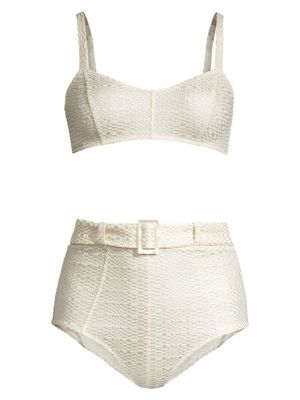 2bb0f05f7b5 Lisa Marie Fernandez - Leandra Striped Off-the-Shoulder Bikini Set ...
