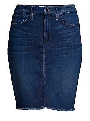"""Image of Fringed hem tempers the pencil skirt silhouette and maintains this denim skirt's casual look. Five-pocket style Button closure Zip fly Cotton/polyester/lyocell/elastane/spandex Machine wash Imported SIZE & FIT Slim fit About 19"""" long Model shown is 5'10"""""""