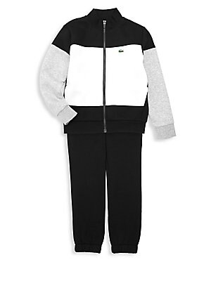 Image of Colorblock tracksuit features jacket with fleece interior for comfort and warmth and pants with elasticized cuffs for a secure fit. Cotton/elastane/polyester. Machine wash. Imported. JACKET Stand collar Long sleeves Zip front Side pockets Logo detail PANT
