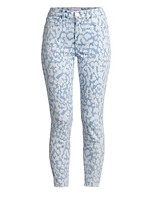 "Image of An abstract print in a bleach-stain effect adds interest to these cropped stretch skinny jeans. Five-pocket style Zip fly with button closure Cotton/polyester/elastane Hand wash Imported SIZE & FIT Skinny silhouette Rise, about 13"" Inseam, about 26"" Leg o"
