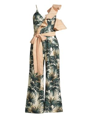 Patbo Suits Palm Print Asymmetrical Ruffle Jumpsuit