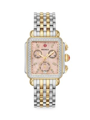 Michele Watches Signature Deco Two Tone Diamond Watch