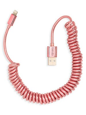 "Image of Practical, neat, and cute, this coil charging cord is over six feet long and works with all lightning ports. Metallic rose gold Polyurethane Plastic Metal Imported SIZE 78""L. Gifts - Books And Music > Saks Fifth Avenue. ban. do. Color: Gold."