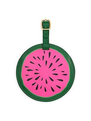 "Image of All the other bags will be jealous. This luggage tag is made out of leatherette and has goldtone hardware. Circular tag Polyurethane PVC Metal Imported SIZE 4.625""W x 4.625""H. Gifts - Books And Music > Saks Fifth Avenue. ban. do. Color: Watermelon."