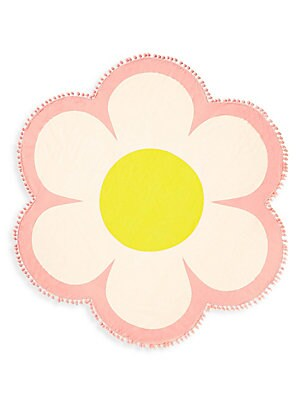 "Image of A dream come true, this easy-care oversized terry cloth towel is soft, cozy and shaped like a daisy. Terry cloth/polyester Machine wash Imported SIZE 60""W x 60""H. Gifts - Books And Music > Saks Fifth Avenue. ban. do. Color: Daisy."
