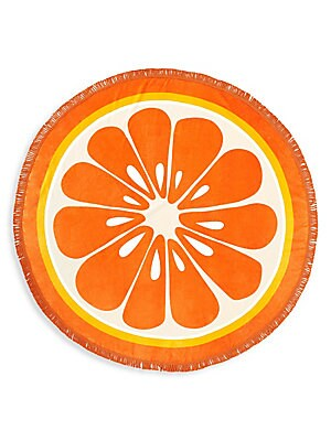 """Image of Tassels adorn vibrant beach towel shaped like an orange that could easily double as a cute picnic blanket. Terry cloth Machine wash Imported SIZE 60""""W x 60""""H. Gifts - Books And Music > Saks Fifth Avenue. ban. do. Color: Orange."""