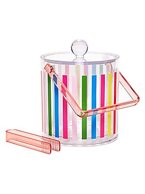 """Image of Cool drinks make for a cool party. This double-walled plastic ice bucket is sure to keep ice physically and aesthetically cool at any party. Includes tongs that match the handle too! Ice bucket with tongs 96 oz. Acrylic Hand wash Imported SIZE 7.5""""W x 6.8"""