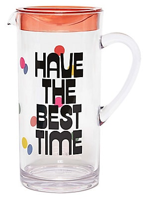 """Image of This plastic pitcher with lid includes party punch recipe and encourages everyone to have the best time. Pitcher with lid 57 oz. Acrylic Plastic Hand wash Imported SIZE 4.25""""W x 9.25""""H. Gifts - Books And Music > Saks Fifth Avenue. ban. do."""
