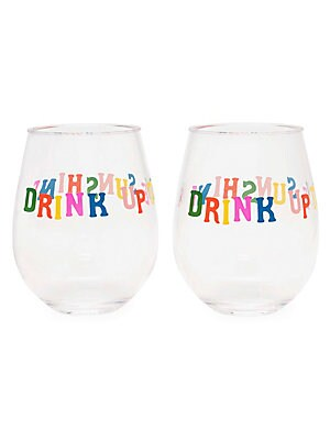 """Image of The perfect stemless glasses for wine or any other beverages! Set of two glasses made of clear acrylic with printed design. Set of two 16 oz. each Acrylic Hand wash Imported SIZE 3.5""""W x 4""""H x 3.5""""D. Gifts - Books And Music > Saks Fifth Avenue. ban. do."""